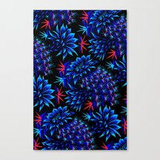 Cactus Floral - Bright Blue/Red Canvas Print