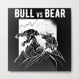 Stock Exchange Trading Capitalism Bull Vs Bear Metal Print