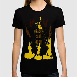 Wake Up Seas The Day Kiteboarder Brown and Yellow T-shirt