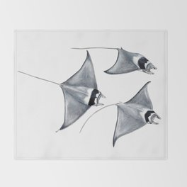 Devil fish Manta ray Mobula mobular Throw Blanket