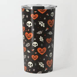 I Heart Halloween Pattern (Black) Travel Mug