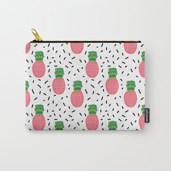 Pineapples dots black and white pattern tropical fruits print Carry-All Pouch