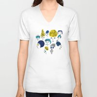 faces V-neck T-shirts featuring Faces by Sahily Tallet Yip