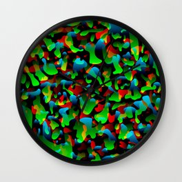 Creative spotted green and colored spots and splashes of paint. Wall Clock