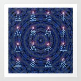 Enchanted Blue Christmas Mandala Art Print