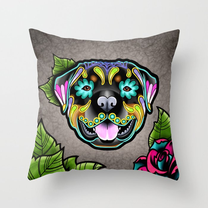 6cba94b9806 Rottweiler - Day of the Dead Sugar Skull Dog Throw Pillow by ...