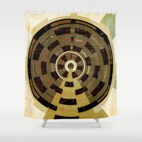 record Shower Curtains featuring Record by Tammy Kushnir