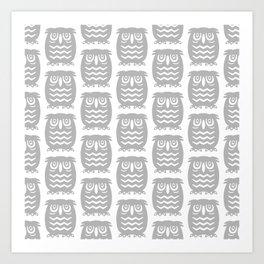 Mid Century Owl Pattern Grey Art Print