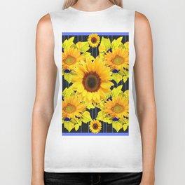 Yellow Sunflowers Pattern in Black-Blue Biker Tank