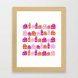 Little Village Orange Framed Art Print