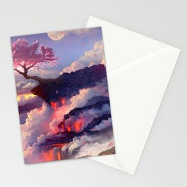 Sakura tree in clouds Stationery Cards