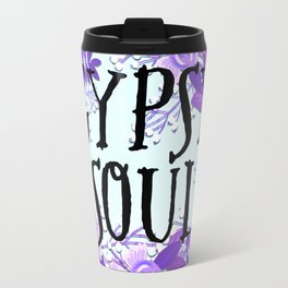 Gypsy Soul Flowers - Purple Floral Boho Hippy Florals Travel Mug