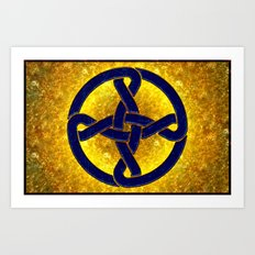 Celtic Knot Blue & Gold Art Print