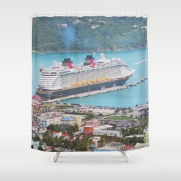 View of our ship Tortola Shower Curtain
