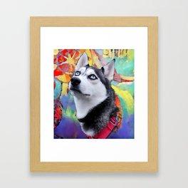 Dreaming Husky Framed Art Print