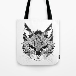 WILD CAT head. psychedelic / zentangle style Tote Bag