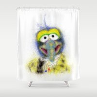 muppets Shower Curtains featuring Gonzo, The Muppets by KitschyPopShop