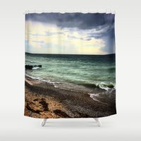 michigan Shower Curtains featuring Lake Michigan by Kari Smith Designs