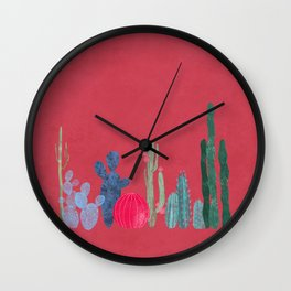 Cactus garden on coral pink Wall Clock
