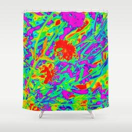 Psychedelic flower garden Shower Curtain