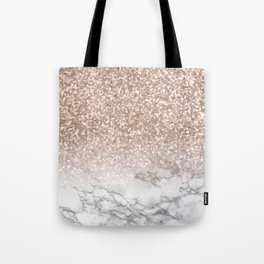 She Sparkles - Rose Gold Glitter Marble Tote Bag