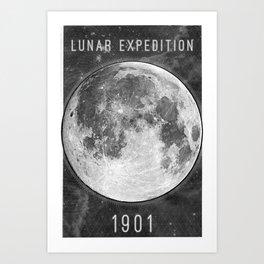 1901 Lunar Expedition Poster Art Print