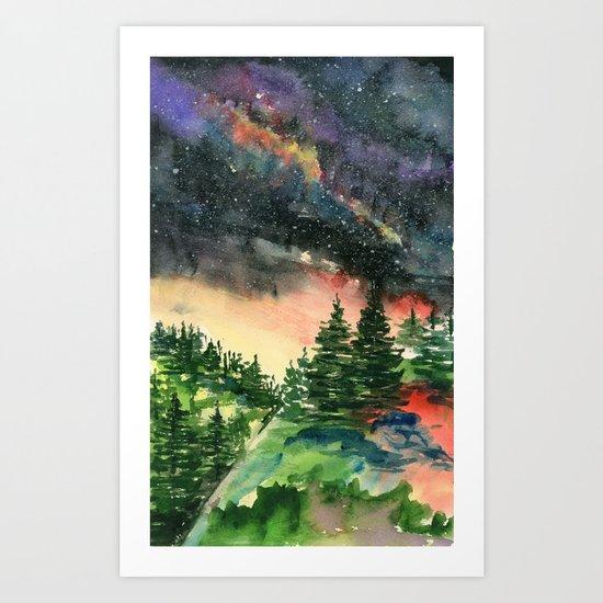 Starry Mountains Art Print