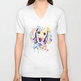 Colourful Pup Watercolor Pet Portrait Painting Unisex V-Neck