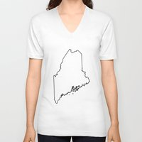 maine V-neck T-shirts featuring Maine by mrTidwell