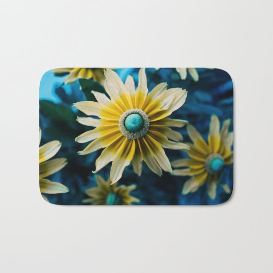 yellow and turquoise Bath Mat