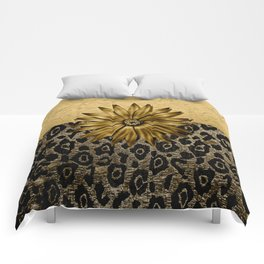 Animal Print Brown and Gold Animal Medallion Comforters
