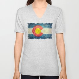 Colorado flag with Grungy Textures Unisex V-Neck