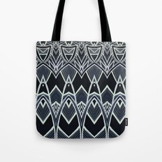 Art Deco Abstract Pattern Leaves - black white Tote Bag