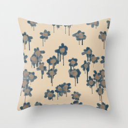 Graffiti Flowers Navy Throw Pillow