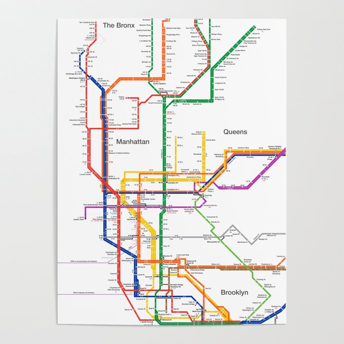 Map Of New York Poster.New York City Subway Map Poster By Igorsin
