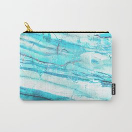 White Marble with Blue Green Veins Carry-All Pouch
