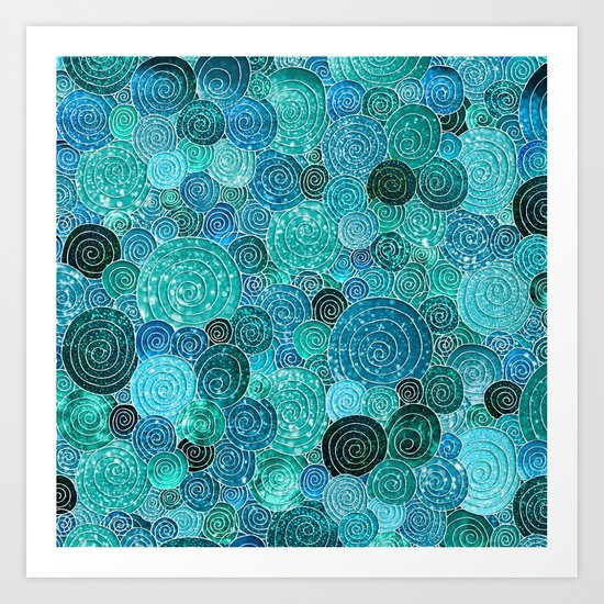 Abstract blue& green glamour glitter circles and dots for Girls and ladies Art Print