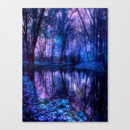 Enchanted Forest Lake Purple Blue Canvas Print