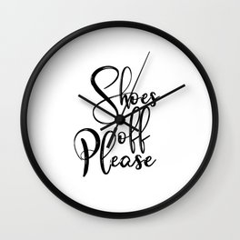 Typography Poster, Shoes Off Please, Printable Art, Black And White, Typography Art Print Wall Clock