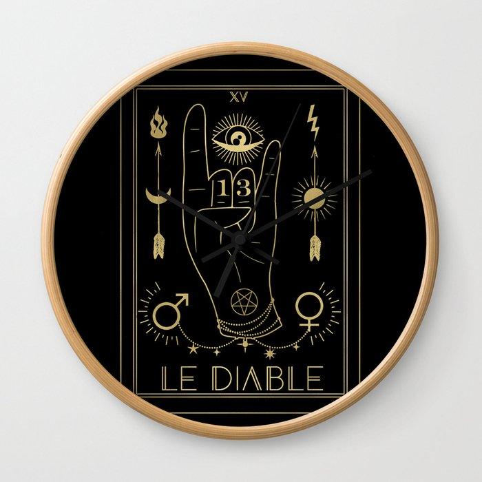Le Diable or The Devil Tarot Gold Wall Clock
