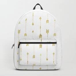 White And Gold Glitter Arrow Pattern Backpack