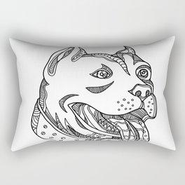 Pit Bull Head Doodle Art Rectangular Pillow