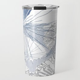 Light blue flowers blowing in the wind Travel Mug
