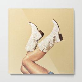 These Boots - Glitter & Tan Metal Print