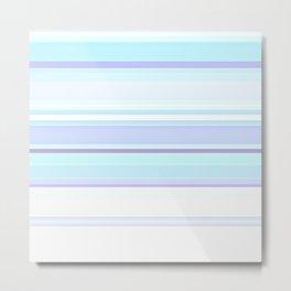 Stripes Pastels Oceans are Blue Pattern Metal Print