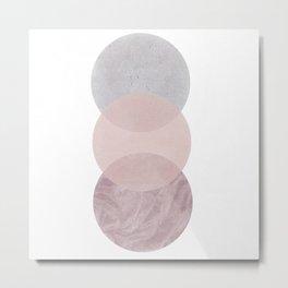 Gray and Pink Circles Metal Print