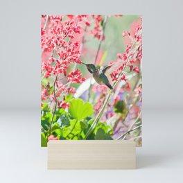 Hummingbird drinking Coral Bell Flowers by CheyAnne Sexton Mini Art Print