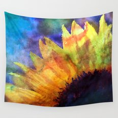 Sunflower Flower Floral on colorful watercolor texture Wall Tapestry