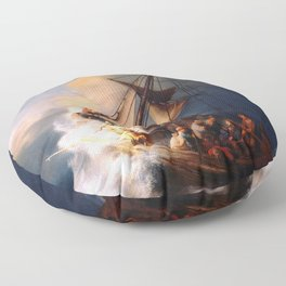 The Storm On The Sea Of Galilee Painting By Rembrandt Floor Pillow
