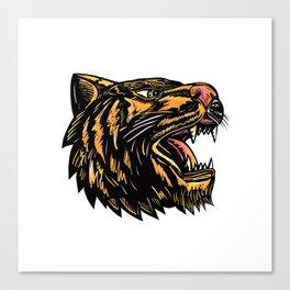 Growling Tiger Woodcut Canvas Print